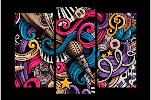 Модульная картина Граффити музыка